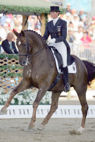 Ulla Salzgeber and Rusty at the 2004 Olympic Games.