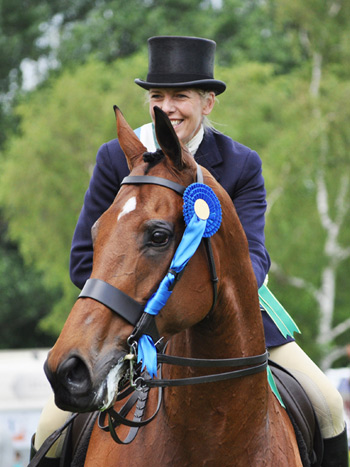 Barbers Shop was ridden by Katie Jerram to win the Tattersalls and Retraining of Racehorses Thoroughbred Show Horse Championship at Hickstead.