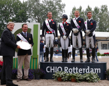 Great Britain won the second leg of the FEI Nations Cup Dressage 2013 series at Rotterdam, The Netherlands today.  Pictured on the podium (L to R): Carl Hester, Charlotte Dujardin, Daniel Watson and Gareth Hughes.