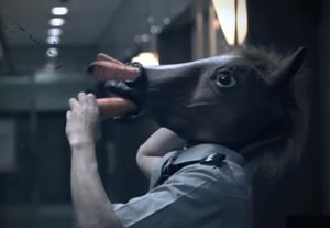 An equine security guard is shot up by carrots.