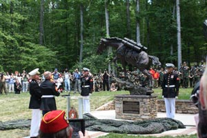 Fans and friends gathered for the unveiling of the statue of Staff Sergeant Reckless.