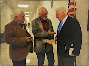 From left, Jerry Finch, representing Habitat for Horses, R.T. Fitch, representing the Wild Horse Freedom Federation, with with Rep. Jim Moran,  discussing issues in the halls of Congress.