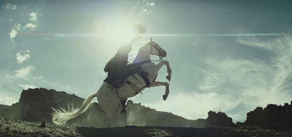 A horse named Cloud 10 takes center-screen in this scene from Disney's movie, The Lone Ranger.