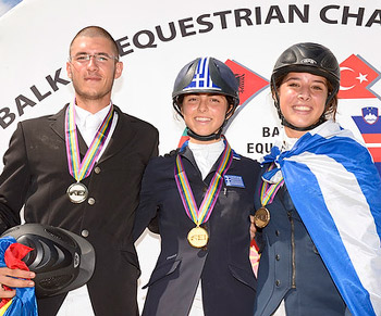 On the podium for the Junior Individual Championship at the FEI Balkan Jumping Championships 2013 which took place in Istanbul (TUR) last weekend - (L to R) silver medallist Cristian Ceausescu from Romania, gold medallist Ioli Mytilineou from Greece and bronze medallist Marina Theofanopoulou from Greece.