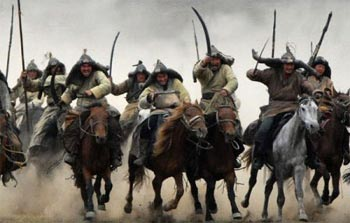 Mongol horsemen. Intense warfare is the evolutionary driver of large complex societies, according to a new mathematical model whose findings accurately match those of the historical record in the ancient world.