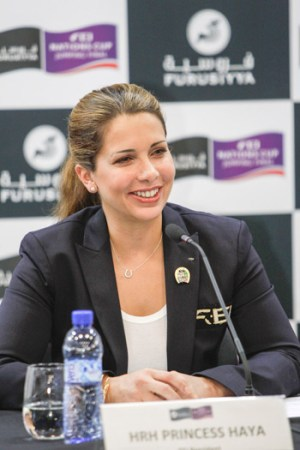 FEI president Princess Haya at the final conference of the CSIO Barcelona.