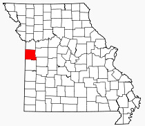 Location of Cass County in Missouri.