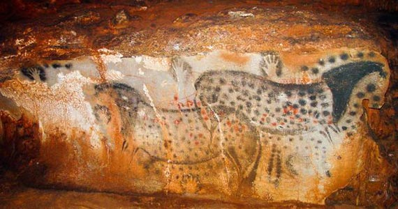 Four of the six hand stencils associated with the spotted horses mural in the Pech Merle cave in France were made my females, research suggests. Photo: Dean Snow/Pennsylvania State University