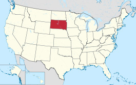 Location of South Dakota in the USA.