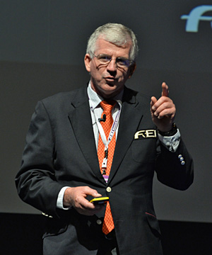 FEI Endurance Committee head Dr Brian Sheahan makes a point during the endurance session at the FEI's General Assembly.