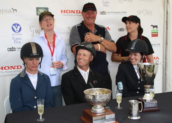 Celebrations at the prizegiving for the CCI3* at Puhinui: Back row: Henton Executive's breeders and part-owners Bridget Sutton and Dave Sutton, and Honda NZ's Nadine Bell. In the front row, from left, is Dannie Lodder, Matthew Grayling and Kelsey Rothery.