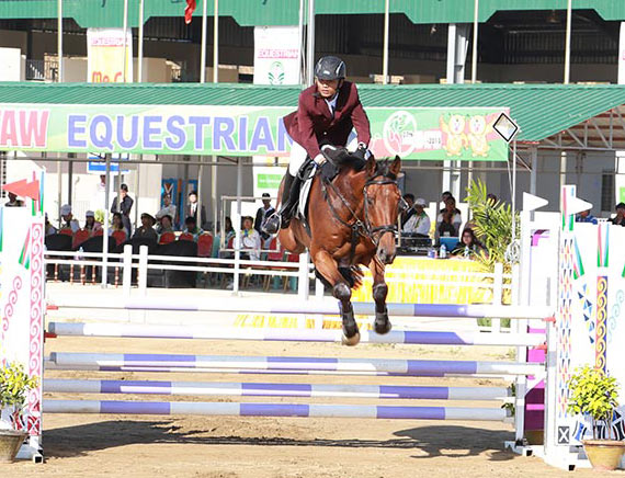 Showjumping action at the SEA Games in Myanmar.