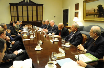 Dr Mohammad Al-Nujaifi (far right) at the White House meeting.