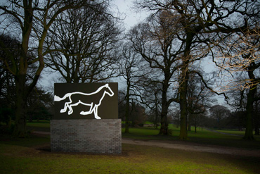 The work displays the horse in LED lights. Photo: Courtesy of YSP/© Jonty Wilde