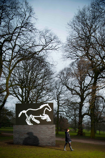 Galloping Horse, 2012, by Julian Opie, has been installed in the Yorkshire Sculpture Park. Photo: Courtesy of YSP/© Jonty Wilde