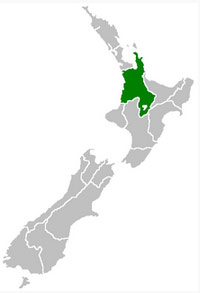 Map showing location of Waikato in New Zealand.