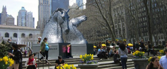 The maquettes of The Kelpies are now on display in Bryant Park, New York.