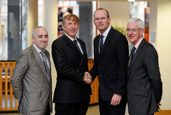 Pictured at the launch of the strategic planning process for Ireland's Sport Horse sector are, from left, Prof Cathal O' Donoghue, Head of Teagasc's Rural Economy Development Programme (Chair of the Working Group); HSI Chairman Professor Pat Wall; Minister for Agriculture, Food and the Marine Simon Coveney; and Royal Dublin Society CEO Michael Duffy.