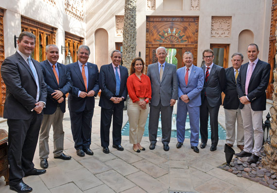 FEI President Princess Haya (centre), was appointed President of the International Horse Sports Confederation at its first meeting last weekend. Louis Romanet (right of Princess Haya), was appointed IHSC Vice-President. Other attendees at the meeting were (from left) Graeme Cooke, Ingmar De Vos, John McEwen, Pablo Mayorga, Winfried Engelbrecht-Bresges, Andrew Harding, Dr Roland Devolz, and Dr Anthony Kettle.