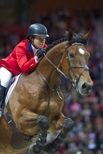2013 Jumping World Cup winner Beezie Madden (USA) and  Simon.