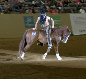 Dan James ride Smart Little Elan in the Freestyle event at the Kentucky Reining Cup in Lexington.