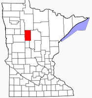 Location of Hubbard County in Minnesota.