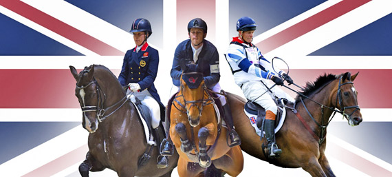 British riders have broken all-time records, occupying the world number one slots in all three Olympic equestrian disciplines. From left, Charlotte Dujardin and Valegro, Scott Brash and Ursula XII, and William Fox-Pitt on Lionheart.