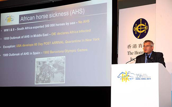 Racing South Africa chief executive Peter Gibson addresses the session on international horse movements.