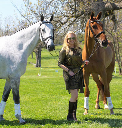 Marilyn Little with RF Smoke on the Water, left and RF Demeter at the RK3DE. Smoke was fifth, and Demeter finished sixth.