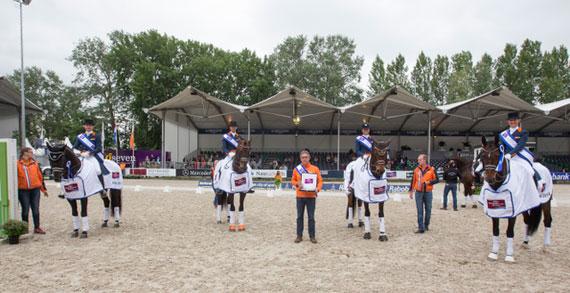 The winning Dutch team, from leftEdward Gal, Hans-Peter Minderhoud, Adelinde Cornelissen and Danielle Heijkoop.