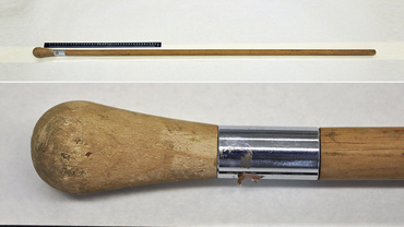 The 1.3-metre stick recovered from one of the scenes, top, and, below, the distinctive end. Callers to a television show which publicised the item believe it may be a painter's pole.
