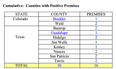 The cumulative number of affected premises, county by county. The figures in blue were added in the last week. Graphic: APHIS