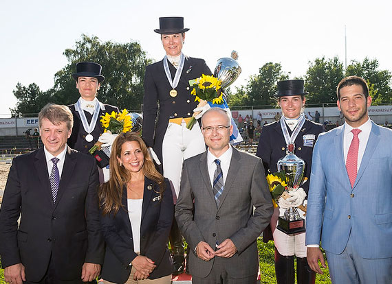 Greek riders scooped all three medals in the Senior Individual category at the FEI Balkan Dressage Championships. Pictured on the podium (L-R) is Katerina Los (silver), Eleni Myrat (gold) and Angela Sklavounos (bronze). In the foreground (L-R) is Serbian Equestrian Federation president Dejan Dragojevic; FEI President Princess Haya; Novi Sad mayor Milos Vucevic, and Vanja Udovic, Minister for Youth and Sport of the Republic of Serbia.