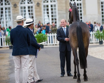 Defending Eventing world champion Michael Jung (GER) and the nine-year old mare FisherRocana FST pictured at the first horse inspection at the historic Haras du Pin.