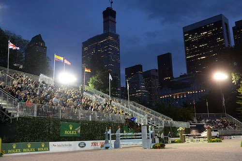 Unique skyline: a showjumper completes the course under the skyscrapers of New York City.