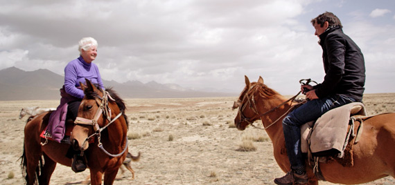 Scott Engstrom and director Conor Woodman on the trail of spotted horses in Kyrgyzstan.