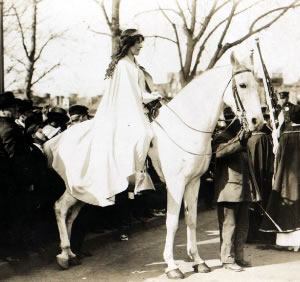 Inez Milholland and Grey Dawn at the Washington DC suffrage parade in 1913.