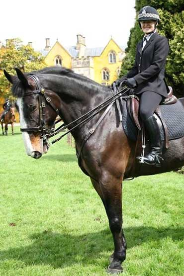 Police horse Thomas will be sorely missed by his regular rider, Constable Kath Pitman. Photo: Avon and Somerset Constabulary