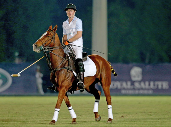 Prince Harry added some royal flair to the Sentebale Polo Cup in Abu Dhabi on Wednesday.