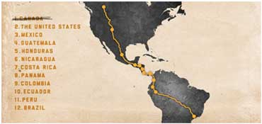 A map of Filipe's proposed route from Canada to Brazil.