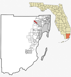 Location of Hialeah Gardens in Miami-Dade County and the state of Florida.