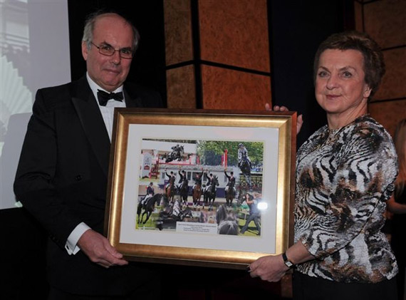 Owner-breeder Rosemary Search received a framed montage of photographs in memory of Opposition Buzz at the British Breeders Dinner held at the Grange Hotel in London on Saturday.