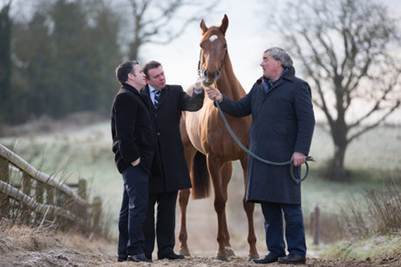 Annagh Haven's jaw was repaired thanks to cutting-edge technology pioneered in Ireland. Pictured at the Oristown, County Meath, property were Annagh Haven lives are, from left, Ireland's Minister for Jobs, Enterprise and Innovation Damien English, Professor Fergal O'Brien, who is deputy director of AMBER, and Laurence Mulvany, who owns the filly.