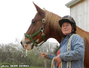 Karen Dallimore and Cody, whom she safely extracted after he was cast in an arena.