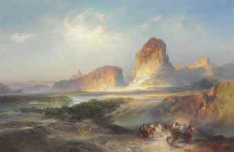 """The Cliffs of Green River, Wyoming"", by Thomas Moran."