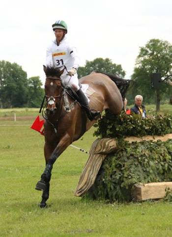 Clark Montgomery on Loughan Glen at the fence where the judges initially eliminated him for jumping outside the flag in the second element.  It was later reinstated after the Ground Jury looked at photographs of the fence.