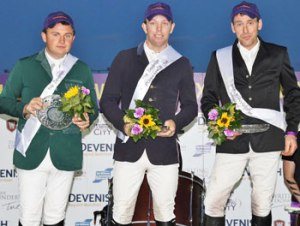 Puissance winner Liam O'Meara is flanked by runner-up William McDonnell, left, and third place-getter Sven Hadley.