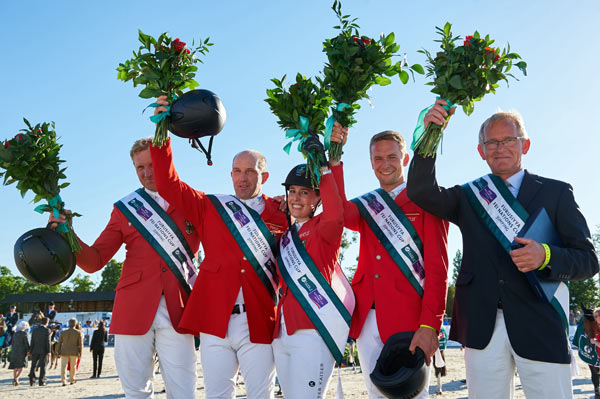 The winning German team, from left, Andre Thieme, Holger Wulschner, Janne-Friederike Meyer, Patrick Stühlmeyer,  and chef d'equipe Heinrich-Hermann Engemann.
