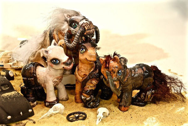 """The four hardcore """"Mad Max: Fury Road"""" My Little Pony figures created by Kelsey Wailes.  Photos: Kelsey Wailes"""
