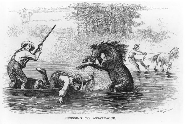 An illustration of the 1877 Pony swim from Scribner's Monthly.